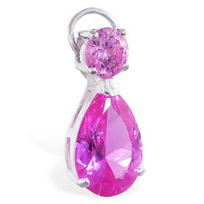 Changeable Pink CZ Belly Ring Swinger Charm