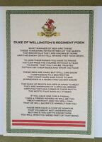 Duke Of Wellington's Regiment DWR Poem British Army Infantry Military