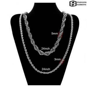 Rope Chain Necklace Solid Silver Filled, 60 CM Precious Metal 316 L