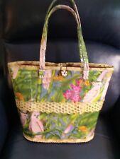 Rare large Island Parrot Straw 16 x 14 x 7 Handbag beach bag tote flowers birds