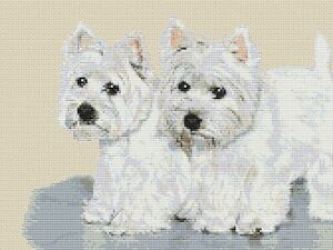 """""""Two's Company"""" Westies Cross Stitch Design (kit or chart)"""