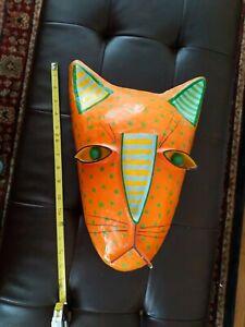 "VTG 80s GINA TRUEX FOLK ART CAT PAPER MACHE MASK 16"" WALL ART DECOR LTD EDITION"