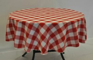 Small Round Gingham check Fabric TABLECLOTH Polyester