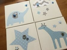 SET OF 4 HANDMADE CANVASES & BUNTING BLUE AND GREY GIRAFFE STAR ELEPHANT CLOUD