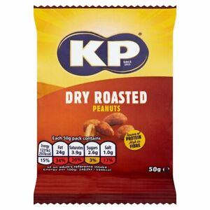 KP Dry Roasted Flavour Peanuts - 24x 50g Packets on Pub Card - NEW & SEALED