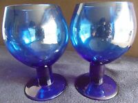 2 Tall Cobalt Blue Large Wine Drinking Glasses Vintage Unique