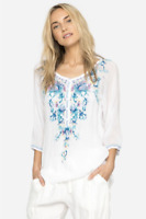 💕Beautiful JOHNNY WAS Floral Embroidered BLUE MOON Button Neck Tunic L $268  💕
