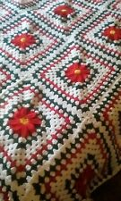 "Handcrafted Crocheted ""Poinsettia"" King Size Afghan"