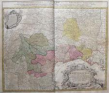 Homann: Orig. altkol. Kupferstich Landkarte Languedoc Frankreich France; 1742