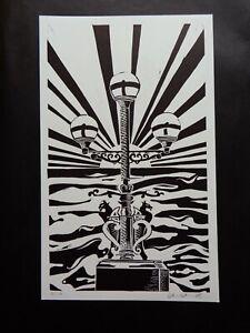 Original Limited edition lino-cut Trefechan lamp Aberystwyth Sun rays & Sea 7/10