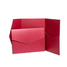 Cherry Red Pearlescent Pocketfold WEDDING Invites with envelopes. Pocket WALLETS
