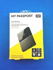 WD - My Passport 4TB External USB 3.0 Portable Hard Drive Black Western Digital