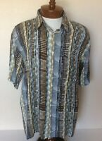 St. Croix Vintage 90s Camp Shirt Geometric Abstract Rayon Multicolor Coogi Style