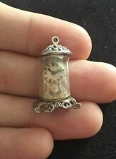 Vintage Sterling Silver Damaged Carriage Clock Ornate Charm pendant