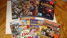 PC 8 Game Lot CD-Rom Factory Sealed Jewel Quest,reload,Tiny Token Empires,Luxor
