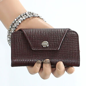NWT COACH CROSBY BOX GRAIN LEATHER 4-RING KEYCASE BUSINESS CARD F66004 BROWN