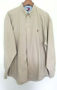 TOMMY HILFIGER Mens Designer Khaki Long Sleeve Buttoned Shirt size L EUC
