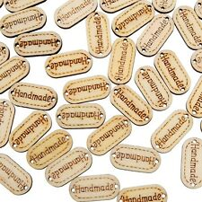 100Pcs Handmade Carved  Wooden Buttons Tags 2 Holes Sewing DIY Craft Supplies