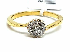Diamond Cluster Ring Set in Silver with 14kt gold Overlay  0.15cts    Size R