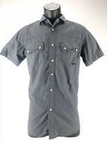 Coastal Button Down Short Sleeve Shirt Mens Small Gray Charcoal Cotton Blend