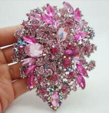 "Fashion Style 3.94"" Flower Drop Brooch Pin pendant Pink Rhinestone Crystal Gifts"