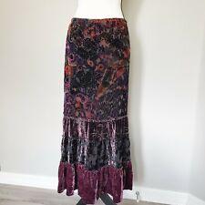 Chico's Silk Blend Skirt Tiered Bohemian Romantic Crushed Velvet fits US 8 - 10