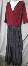 """Tall Vintage Style Jumpsuit Sz 1X Red w/ Black/White Bottom 50"""" Bust   B3G1 FREE"""