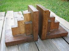 Art Deco Wood Bookends - Dovetail joints