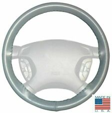 Grey Leather Steering Wheel Cover Size C For Ford Chevy & Other Makes