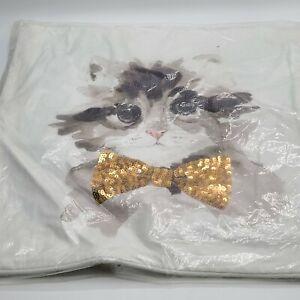 "Pottery Barn Teen KITTEN ASPCA Party CAT  pillow cover 18"" Gold"