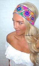 Multi Coloured Bohemian Mirrored Wide Thick Hippy Hair Head Band Choochie Retro