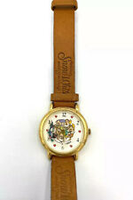 Vintage Disney Snow White & 7 Dwarves Brown Leather Band Women's Watch
