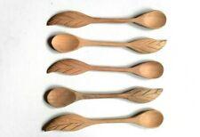 6 Pcs/lot Wave Mini Wood Spoon Flatware Kitchen Tool Soup Dessert Coffee Stirrin