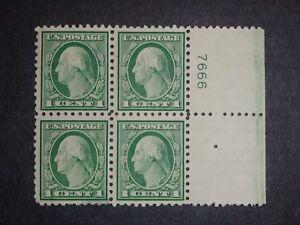 RIV: US M/DG 424 Block of Four w/Plate # THIN 1 cent Washington 1914 mint 2F