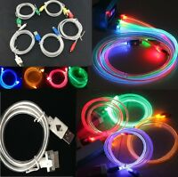 1m LED Lighting USB Data Charging Cable For iPhone 4 4s 5 5s 6 Plus Samsung HTC