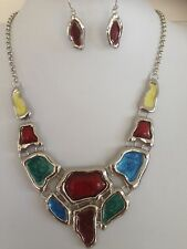 Free Shipping  Silver Plated Jewellery Chunky Necklace Earring Set Blue+Red