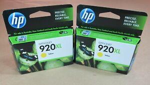 [0778*] TWO (2x) HP 920XL (CD974AA) YELLOW INKS ( RRP>$54 )