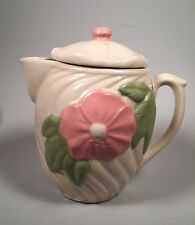 VINTAGE PINK FLOWER USA POTTERY PITCHER SWIRL AMERICAN BISQUE Cloud W/ Lid