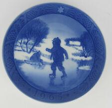 More details for 1965 royal copenhagen christmas plate, 'little skaters', one of several listed