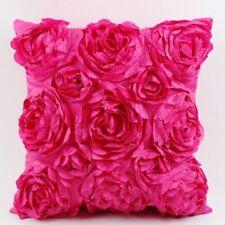 Square Satin 3D Rose Flower Throw Pillowcase Sofa Car Pillow Cushion Cover