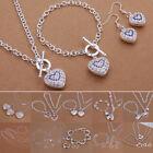 New Silver Bracelet Heart Necklace Solid Women Pendant Jewelry Set Earrings Xmas