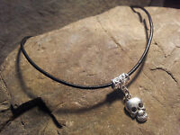 Skull Black Real Leather Cotton Tibetan Charm Retro Hippy Gothic Choker Handmade
