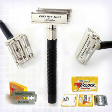 Butterfly Safety Razor & Gillette Double Edge Blades Classic Shaving FREE