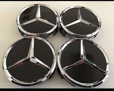 4x Mercedes alloy Wheel Center Caps 75mm Silver/black,A B C E class,SLK, CLA,CLK