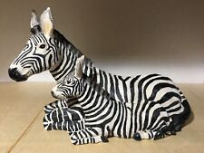 Zebra Resin Statues Adult and Baby lying down 18 inches long