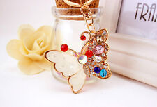 White Colourful Butterfly Crystal Diamante Rhinestone Bag Charms Handbag Keyring