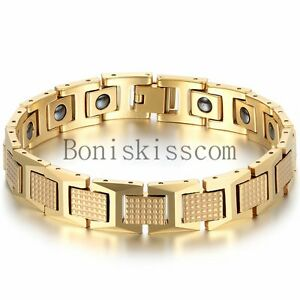 Men's Golf Link Bracelet Stainless Steel Magnetic Therapy Elements Gold Tone