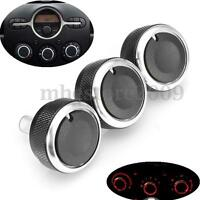 3Pcs Switch Knob Heater Climate Control Button Dials Frame A/C For Mazda 2