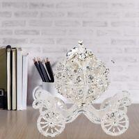 Sliver Crown Pumpkin Carriage Trinket Box Diamond Jewelry Case Lady Gifts NEW