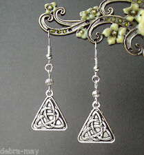 Celtic Triangle Triquetra Trinity Knot Silver Plated Drop Earrings